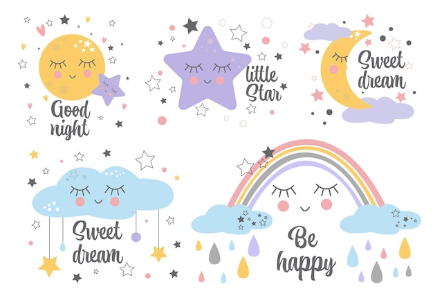 Set of posters yellow sleepy moon pink star cloud for baby room decoration kids wall art design .