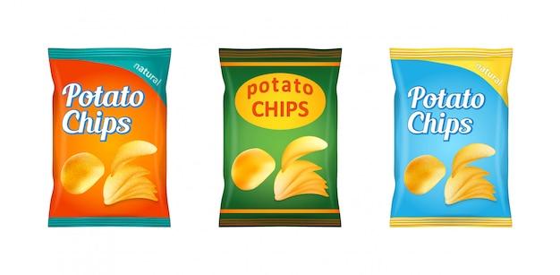 Set of potato chips packaging