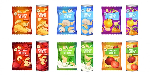 Set potato chips with different flavors advertising composition of crisps potatoes and packagings collection