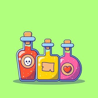 Set of potions cartoon flat illustrations.