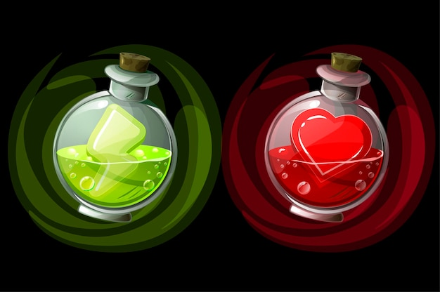 Set of potions in glass round bottles with icons