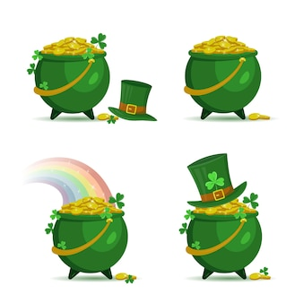 Set of pots with gold coins and leprechaun's hat for patrick's day
