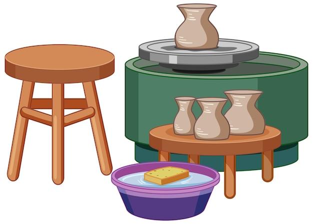 Set di strumenti di ceramica su sfondo bianco