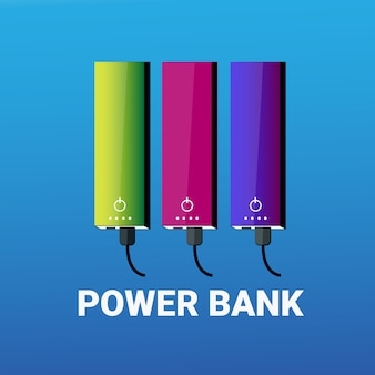 Set of power banks colorful portable battery for charging collection