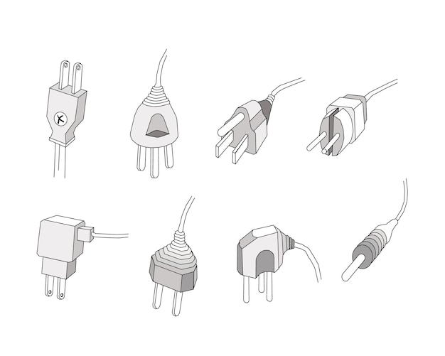 Set of power plugs or electric plugs