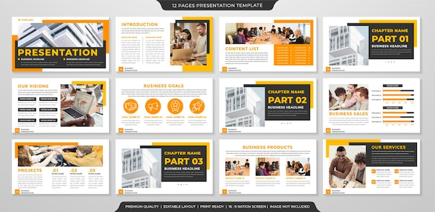 Set of powerpoint layout template premium style