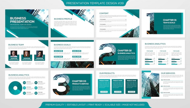 Set of powerpoint slide template