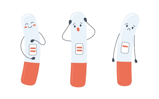 A set of pregnancy test characters with positive and negative results
