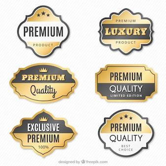 Set of premium gold stickers