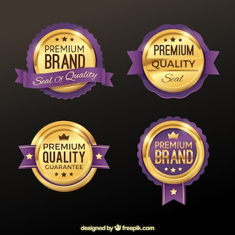 Set of premium golden and purple stickers