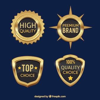 Set of premium golden shields and badges