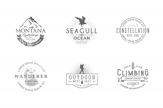 Set of premium labels on the themes of wildlife, nature, hunting, travel, wild nature, climbing, camping, life in the mountains