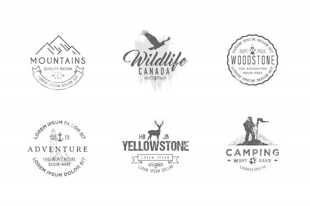 Set of premium labels on the themes of wildlife, nature, hunting, travel, wild nature, climbing, camping, life in the mountains,