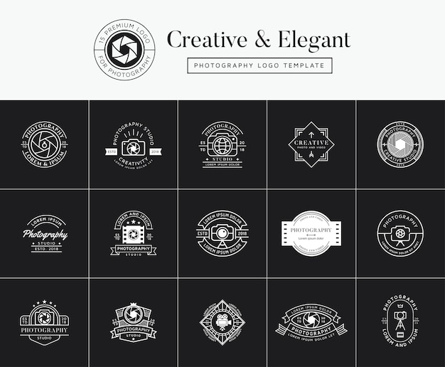 Set of premium photography emblems, badges and logo
