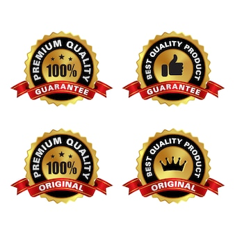 Set of premium quality golden labels with wreath element isolated on white background