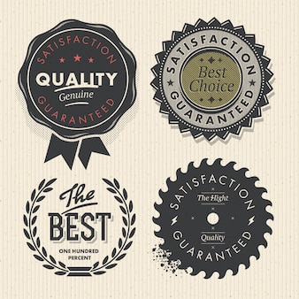 Set premium quality and guarantee labels with retro vintage styled design