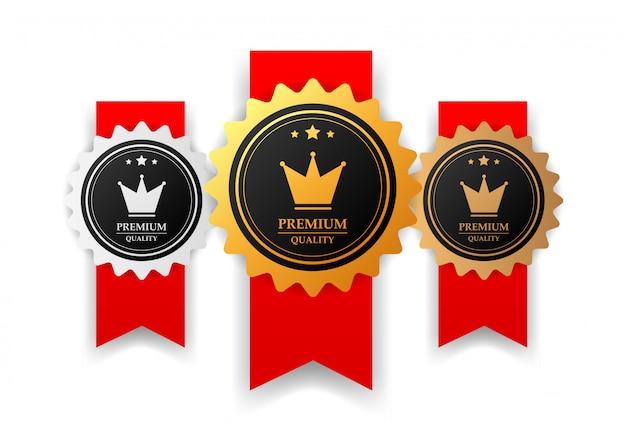 Set premium quality label, ribbon.