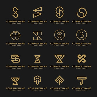 Set of premium vector logo initials. beautiful logotype design for luxury company branding