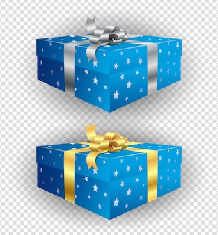 Set of present boxes with print from stars and golden and silver ribbons