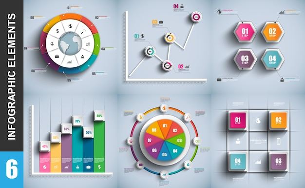Set of presentation business 3d infographics