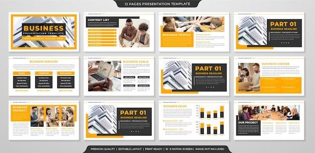 Set of presentation layout template