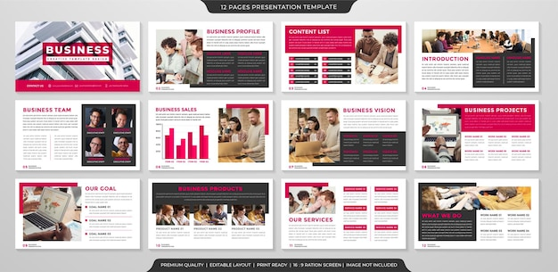 Set of presentation template with minimalist and modern style