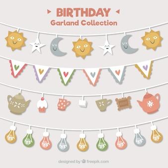 Set of pretty birthday garlands