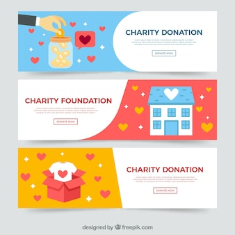 Set of pretty donation banners