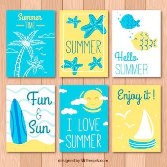 Set di belle schede estive con messaggi