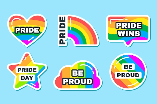 Set of pride day labels