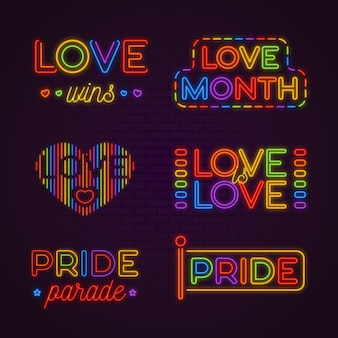 Set of pride neon signs