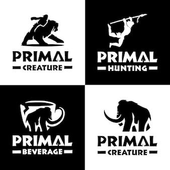 Set of primal creature logo template