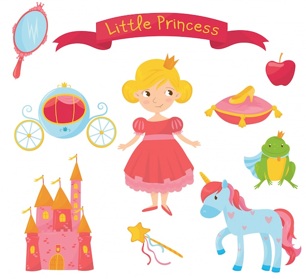 Set of princess items. girl in dress, handle mirror, carriage, apple, frog prince, shoe on pillow, castle, magic wand, unicorn. colorful flat   design
