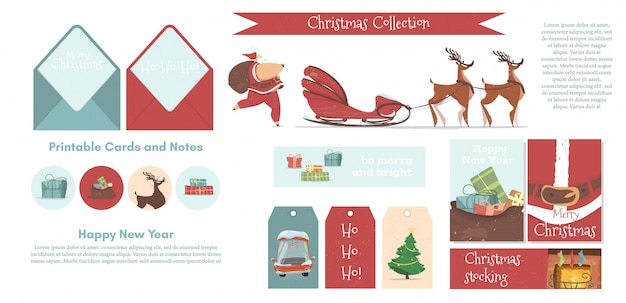 Set printable elements for new year and christmas