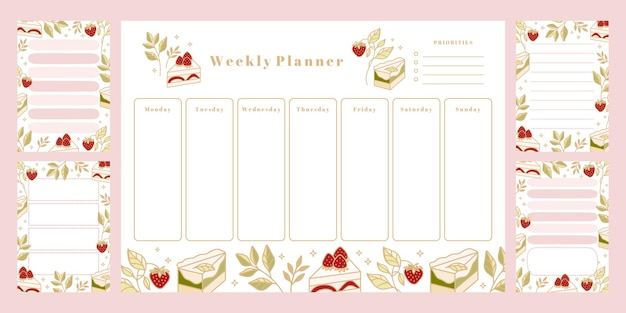Set of printable weekly planner, daily to do list, notepad templates, school scheduler