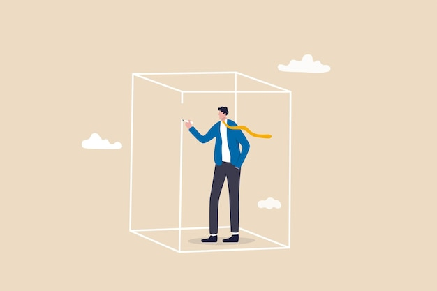 Set privacy zone, personal barrier to focus or work boundary, space to be with yourself concept, introvert businessman drawing box to cover privacy zone or boundary to protect from distraction.