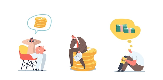 Set problems with money. upset businessman and businesswoman with no money, bankrupt. frustrated, disappointed characters with empty piggy bank, financial crisis. cartoon people vector illustration