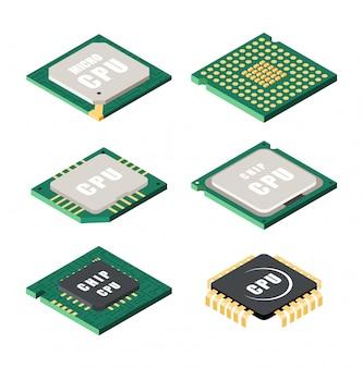 Set of processor icons
