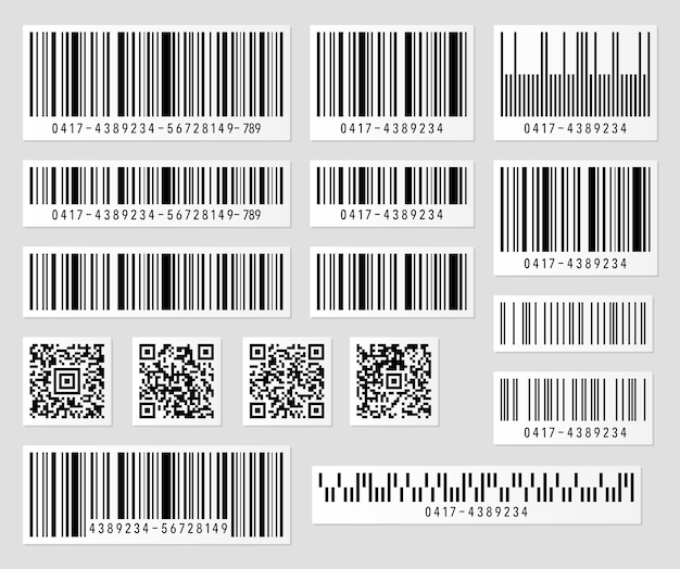 Set of product barcode and qr code  illustration