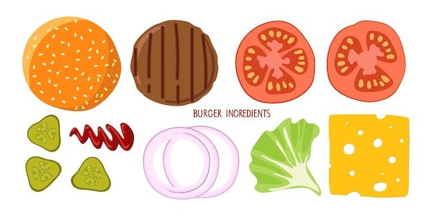 Set of product for burger hamburger creation product kit isolated