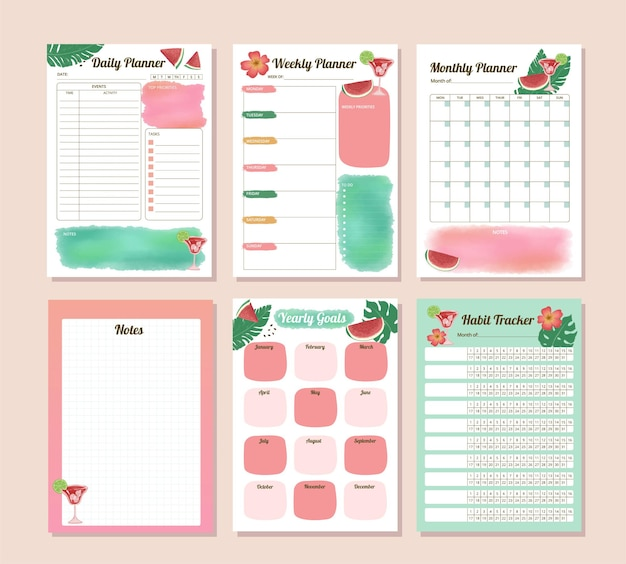 Set of productivity watermelon watercolor daily monthly yearly and habit tracker planne