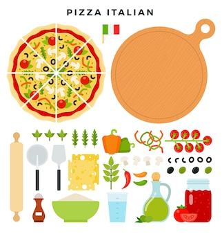 Set of products and tools for pizza making isolated on white