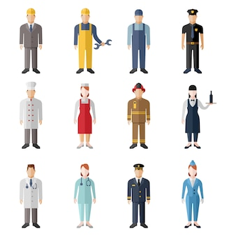 Set of profession characters isolated