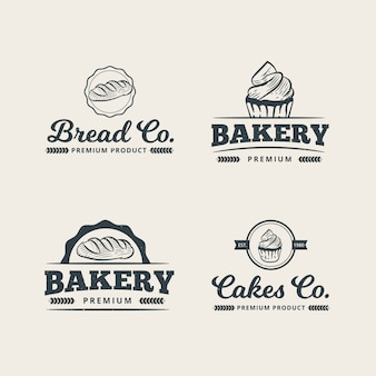 Set of professional bakery logo template