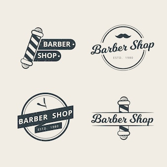 Set of professional barbershop logo template