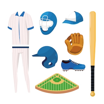 Set professional baseball sport uniform