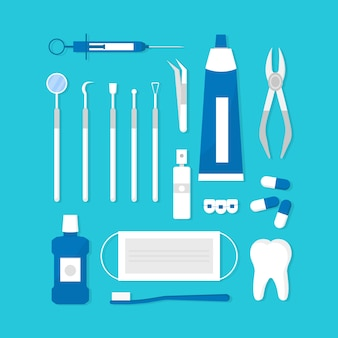 Set of professional dentist tools