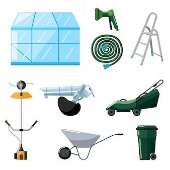 플랫 스타일의 흰색 배경에 전문 정원 도구를 설정하십시오. 키트 온실, 잔디 깍는 기계, 트리머, 송풍기, 물 호스, 수레, 쓰레기통, 사다리.