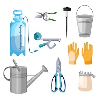 플랫 스타일의 흰색 배경에 전문 정원 도구를 설정하십시오. 키트 분무기, 가로등, 장갑, 양동이, 물 뿌리개, 정리기, 가터 벨트, 가위.