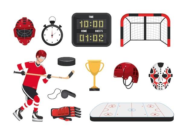 Set professional hockey equipment and player uniform